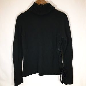 The Limited Black Turtle Neck with Lace Up Tie